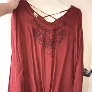 Burn orange long sleeve flowy blouse